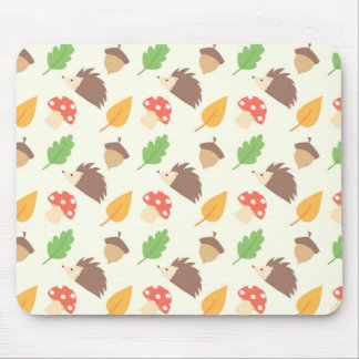 Fall Hedgehog Pattern Mouse Pad