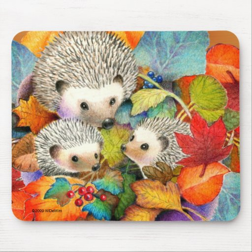 Fall Hedgehogs Mouse Pad