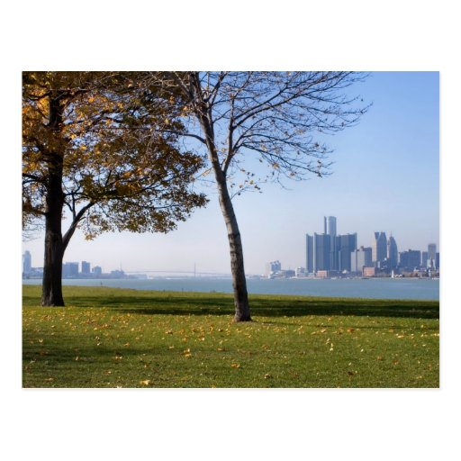 fall in detroit postcard