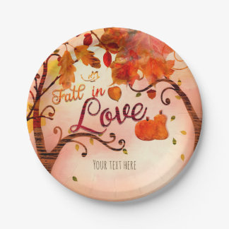 FALL IN LOVE Autumn Bridal Shower Any Event 7 Inch Paper Plate