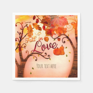 FALL IN LOVE Autumn Bridal Shower Any Event Disposable Napkins