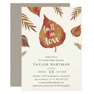 Fall in Love   Autumn Bridal Shower Invitation