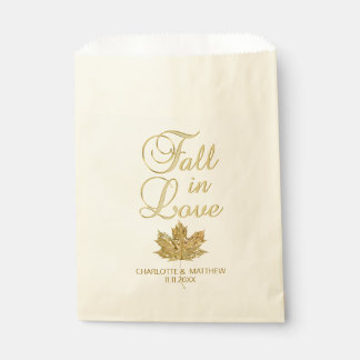 FALL IN LOVE Autumn Gold Maple Leaf Wedding Favour Bags