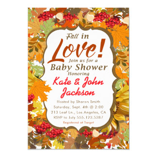 Fall in Love - Autumn Leaves Baby Shower Card