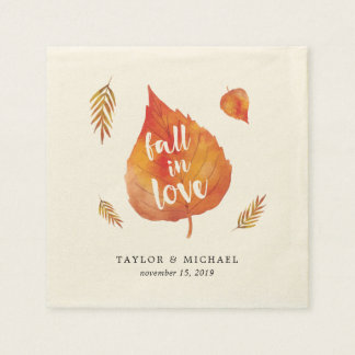 Fall in Love   Autumn Leaves Wedding Disposable Napkin