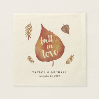 Fall in Love | Autumn Leaves Wedding Paper Napkin