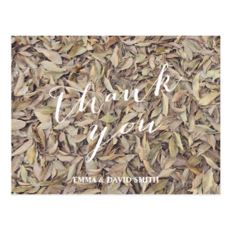 Fall in Love Autumn Leaves Wedding Thank You Postcard