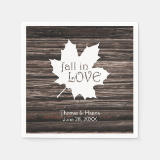 Fall in Love Autumn Wedding Disposable Serviettes