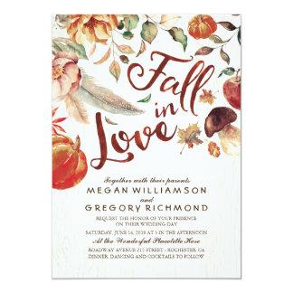 Fall in Love Boho Rustic Floral Pumpink Wedding Card