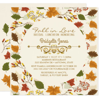 Fall in Love Bridal Luncheon Autumn Wedding Shower Card