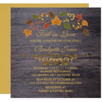 Fall in Love Bridal Luncheon Rustic Wedding Shower Card