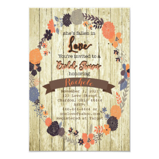Fall In Love Bridal Shower Invitation with Flowers