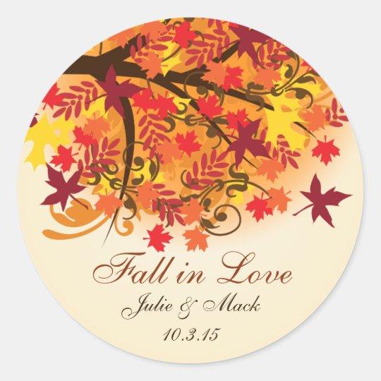 Fall in Love Bridal Shower Wedding Sticker Label