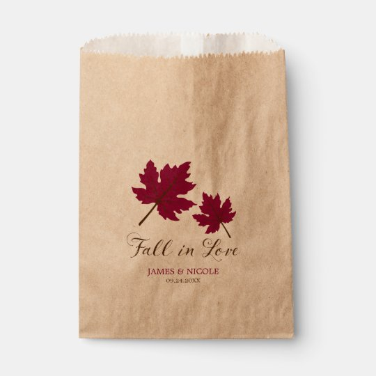 Fall in Love Burgundy Brown Leaves Wedding Favour