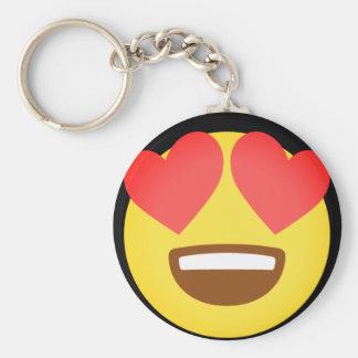 Fall In Love Emoji Basic Round Button Key Ring