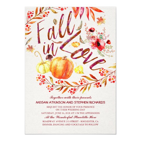 Fall in Love Floral Pumpkin Rustic Country Wedding