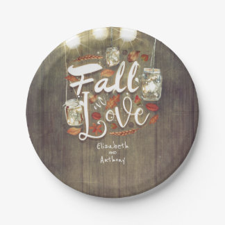 Fall in Love Mason Jar Lights Rustic Wedding Paper Plate