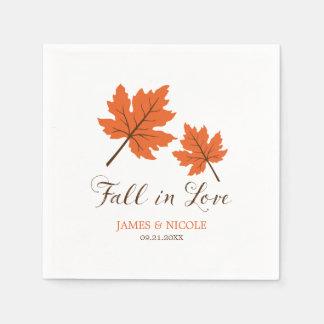 Fall in Love Orange Brown Leaves Wedding Disposable Serviette