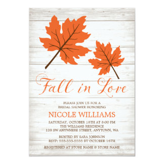 Fall in Love Orange Leaves Bridal Shower Card