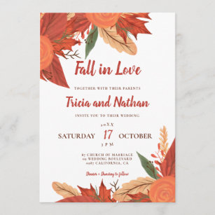 Fall in love orange red floral typography wedding invitation