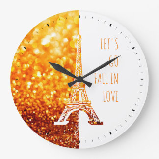 Fall in love Paris | Romantic Eiffel Tower Large Clock