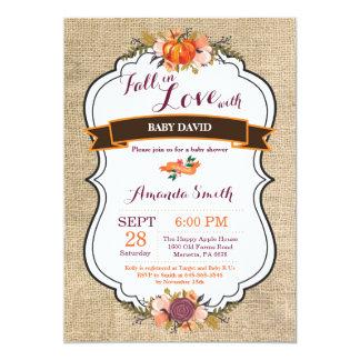 Fall in Love Pumpkin Baby Shower Invitation Burlap