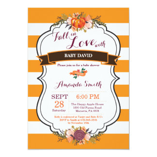 Fall in Love Pumpkin Baby Shower Invitation Card