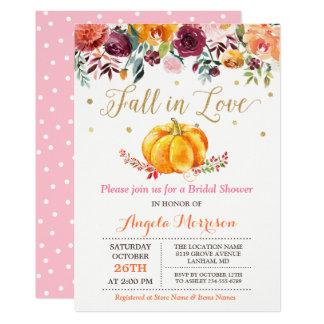 Fall in Love Pumpkin Gold Pink Bridal Shower Card