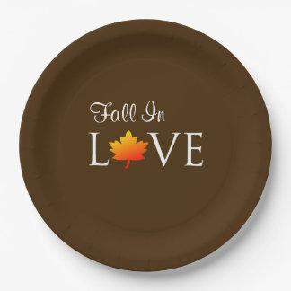 Fall In Love Rustic Autumn Wedding Orange Leaf 9 Inch Paper Plate