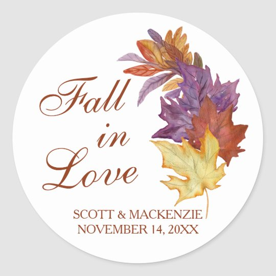 Fall in Love Rustic Leaves Bridal Wedding Favour