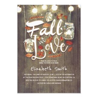 Fall in Love Rustic Mason Jars Baby Shower Card