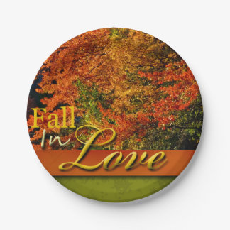Fall In Love Scenic Rustic Wedding Photo Autumn 7 Inch Paper Plate