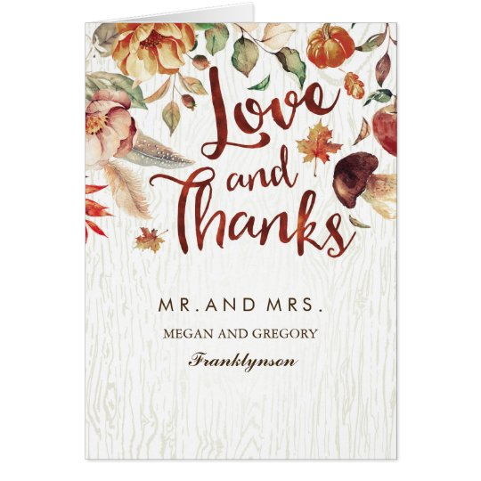Fall in Love Thank You Floral Autumn Wedding