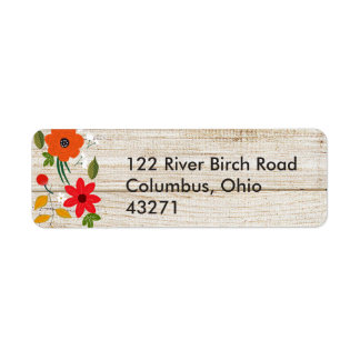 Fall in Love, Wood Rustic Return Address Return Address Label
