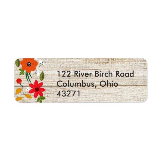 Fall in Love, Wood Rustic Return Address Return Address Label