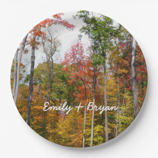 Fall in the Forest Colorful Autumn Photography Paper Plate