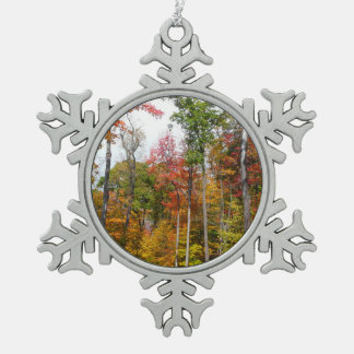 Fall in the Forest Colorful Autumn Photography Pewter Snowflake Decoration