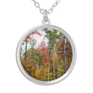 Fall in the Forest Colorful Autumn Photography Round Pendant Necklace