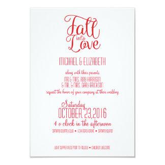 Fall Into Love Red Wedding Invitation