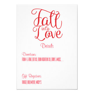 Fall Into Love Wedding Details Card