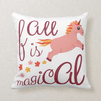 Fall Is Magical Pink Blush Unicorn Throw Pillow