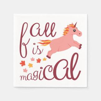 Fall Is Magical Pink Unicorn Napkin Paper Napkin