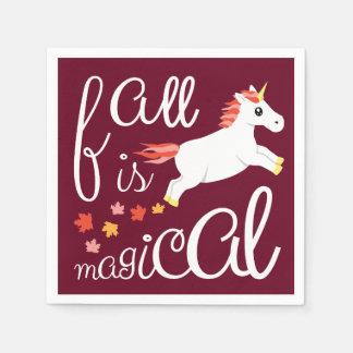 Fall Is Magical Unicorn Maroon Napkin Paper Napkins