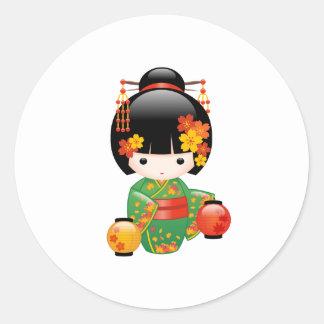 Fall Kokeshi Doll - Green Kimono Geisha Girl Round Sticker