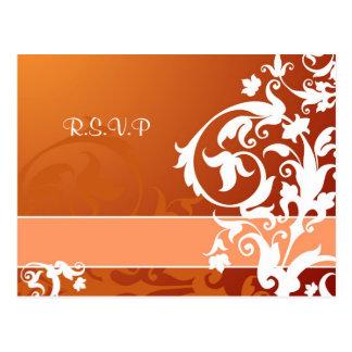 fall lace wedding rsvp card customizable postcard