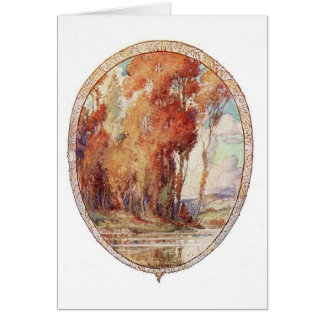 Fall landscape stationery note card