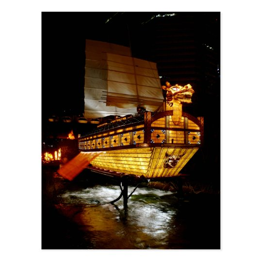 Fall Lantern Festival Ship Postcard