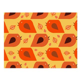 Fall Leaf Birds Pattern Postcard