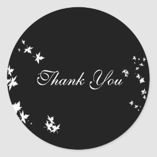 Fall Leaf Black & White Thank You Sticker