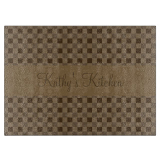 Fall Leaf Brown Squares Cutting Board